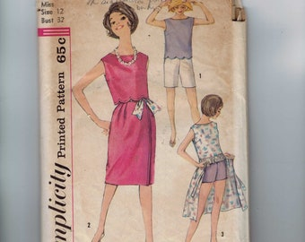 1960s Vintage Sewing Pattern Simplicity 3968 Misses Top in Two Lengths Wrap Skirt Shorts Separates Size 12 Bust 32 60s
