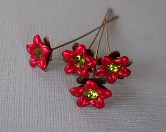 Red Flower  Headpins 2 Inch long - 4.