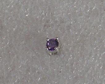 3mm Single Round  Amethyst  Sterling  Post Earring
