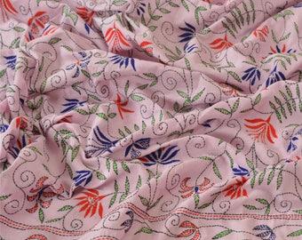 Indian vintage hand embroidered cotton dupatta. Kantha scarf, shawl. SCM006
