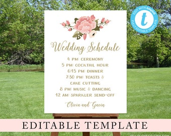 EDITABLE Wedding Schedule Sign, Custom Wedding Program Sign, Pink Peony Reception Sign, Wedding Itinerary, Order of Events, Instant Download