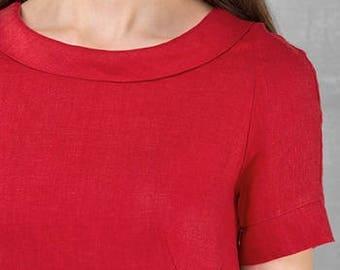 Linen women dress, Pure linen dress, Red dress, Spring, Summer Linen Dress, Linen clothing, linen clothes