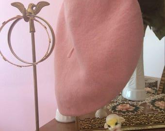 Vintage fuzzy pink beret
