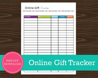 Online Gift Tracker - Online Christmas Shopping Tracker - Printable and Editable - Instant PDF Download