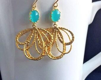 Aqua Gold Chandelier Earrings Aqua Chalcedony Earrings Drop Earrings Bridesmaid Earrings Wedding Earrings Bridal Earrings Delicate Dainty