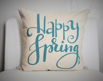 Happy Spring Pillow Cover, Easter Pillow Cover, Spring pillow cover 18x18