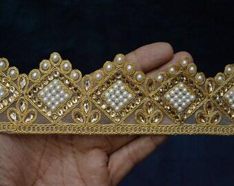 Indian Laces Trim By the yard Beaded Trim Gold Kundan Lace Ribbon Trim Metallic Ribbon Trimmings Embellished Mirror work Saree Border