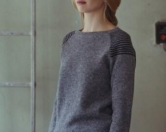 Wool jumper, Handmade wool sweater, Natural grey wool sweater, Hand knitted wool top, Organic wool pullover, Soft wool sweater