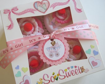 Baby Girl Onesie, Bib, Socks and Washcloth 9 Piece Cute Cupcake Set