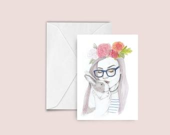 Woman / Rabbit fashion illustration Greeting card , blank card