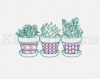 Succulents Redwork Embroidery Machine Design Instant Download 5 Sizes Modern Machine Embroidery