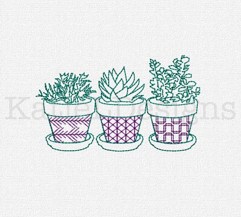Succulents Redwork Embroidery Machine Design Instant Download