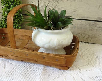 Vintage Milk Glass Planter - White Milk Glass Compote - Succulent Plant Holder