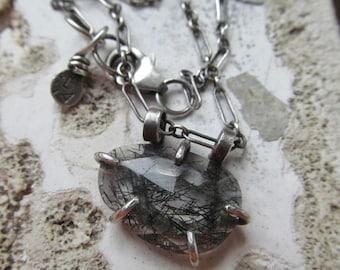 Seconds SALE Short Silver Necklace Delicate Faceted Rutilated Quartz Pendant Short Gemstone Necklace Sterling Silver Pendant Choker