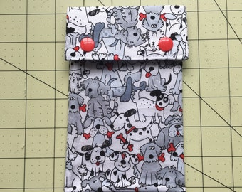 Dog print circilar knitting needle case - needle pouch - needle storage - pen pouch - pen case
