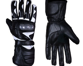 Motorcycle Motorbike Gloves Leather Carbon Knuckle Genuine Leather Gloves