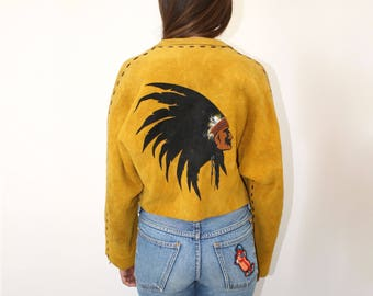 Mohawk Bend Suede Jacket // vintage 70s 1970s brown suede boho country western hippie hipster leather festival dress bohemian cropped // O/S