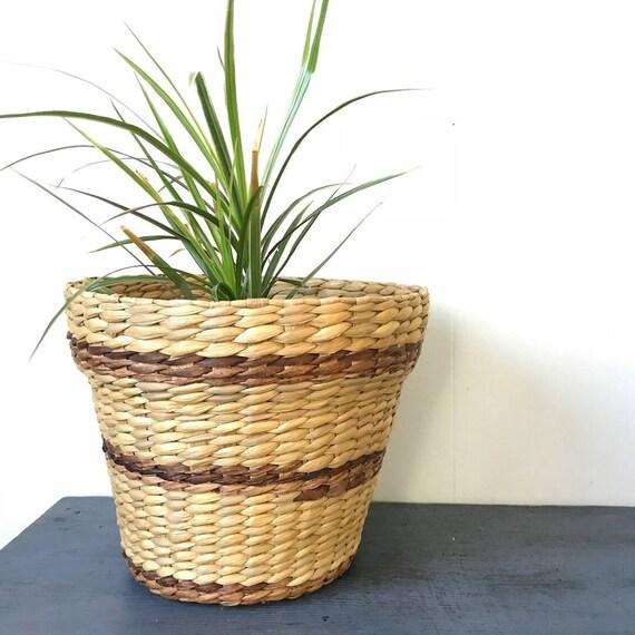 woven flowerpot basket - medium rattan basket - striped boho planter - beige brown