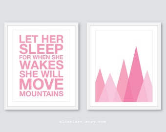 Bébé fille chambre d'enfant Art pariétal rose Nursery - laisser son sommeil impression pour quand elle se réveille elle va déplacer des montagnes - lot de 2 impressions