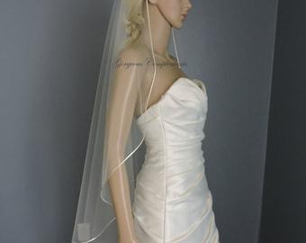 Wedding Veil Cascade Fingertip or Waltz Satin Rattail Cord Edge, Bridal Veil C90RE