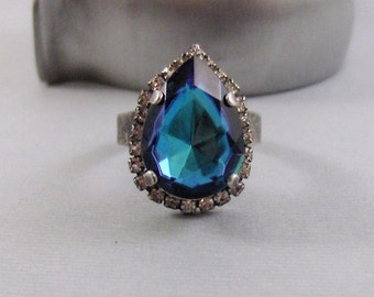 Vintage Sapphire,Ring,Cocktail Ring,Sapphire Ring,Antique Ring,Blue Ring,Adjustable,Bridesmaid,Blue Stone,Birthstone. valleygirldesigns.
