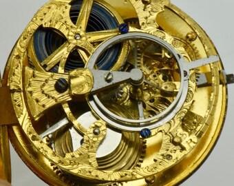 MUSEUM PROTOTYPE Ferdinand Berthoud,Paris SKELETON 22k gold Fusee Cylinder watch
