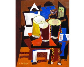 Picasso Beer Parody Painting, Dining Room Art, Anniversary Gift for Husband, Beer Art for Boyfriend, Three Musicians, Man Cave Beer Poster