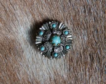 1950's Vintage Turquoise Brooch
