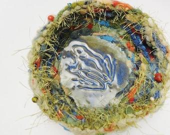Autumn Frog Pond Basket,  Bowl, Pottery and Fiber,  Multifiber, Coiled Basket,  Blue Orange Khaki Olive Green