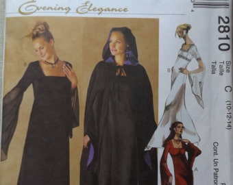 Lined Cape and Semi-Fitted Gown with Square Neckline and Empire Bodice Evening Elegance Sizes 10-14 Uncut/FF McCall's Sewing Pattern 2810