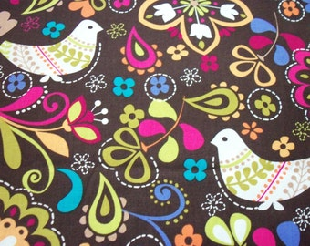Birds of Norway Fabric Michael Miller Brown Background By The Fat Quarter BTFQ New