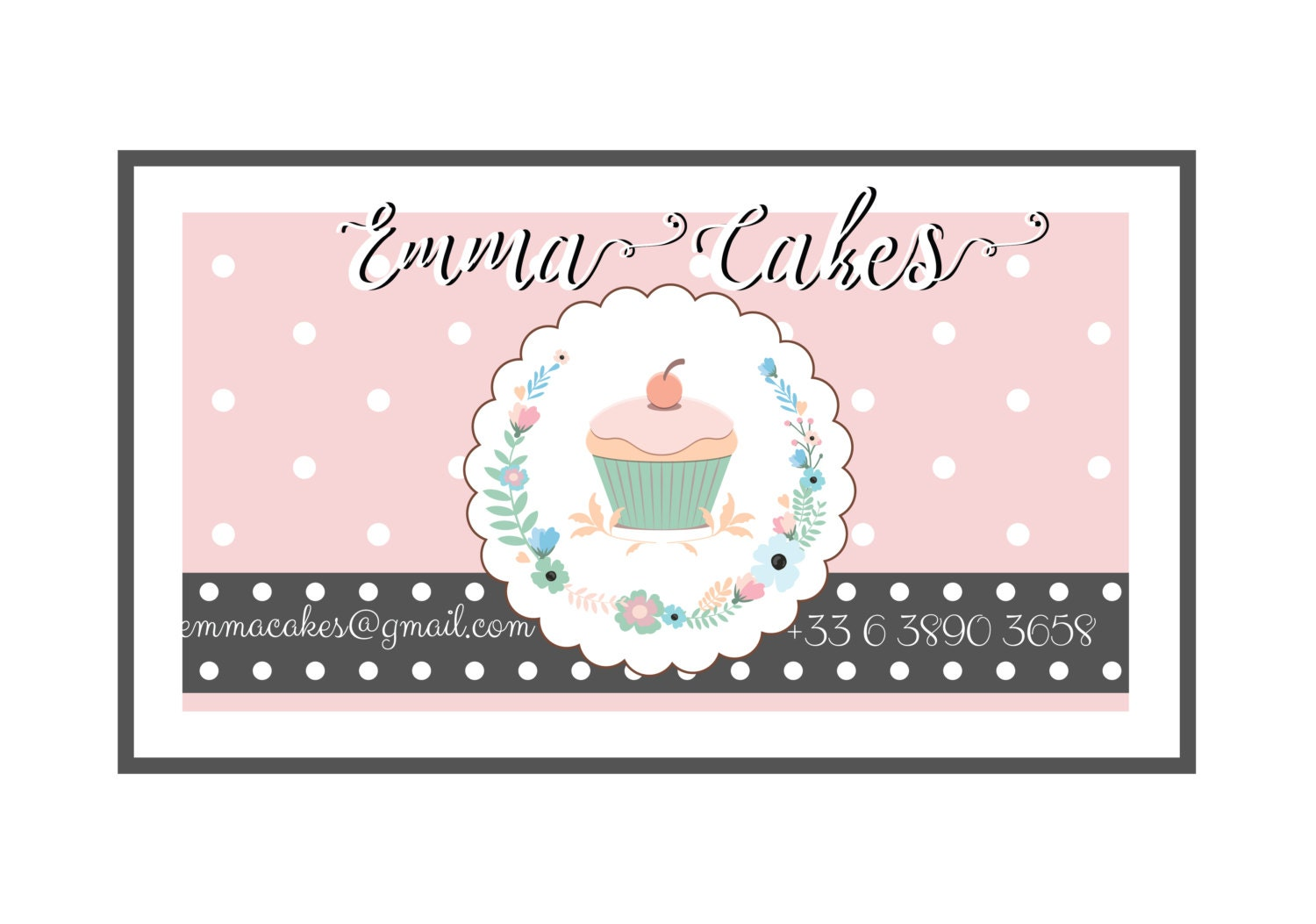Premade cake business card bakery business card pastel pink