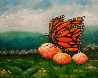 Original butterfly painting on canvas, Monarch butterfly wall art, Original painting by Nancy Quiaoit