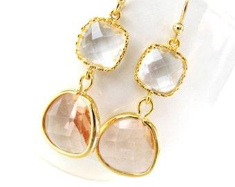 Crystal and peach earrings. Champagne earrings White beige blush earrings Peach glass earrings Peach bridesmaids earrings