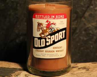 Vintage Old Sport Bourbon Whiskey Candle - Handmade Soy Candle Wood Wick / Man Candle, Bourbon Gifts, Whiskey Lover Gifts, Unique Candles