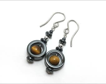 Tiger Eye and Hematite 'Circle' Beads Earrings