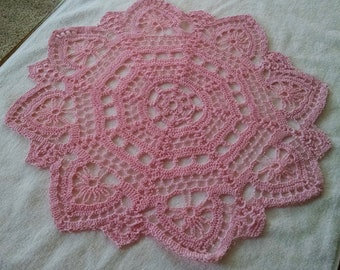 Crocheted Handmade Doily Pink About 17 Inches Wide Made of 100 Per Cent Cotton Thread