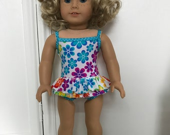 NEW! American Made One-piece double ruffled Swimsuit made to fit 18 inch dolls such as American Girl