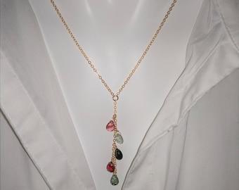 Tourmaline lariat necklace / 14k gold filled lariat / sterling lariat y necklace / y necklace / gemstone y lariat necklace