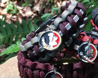 Florida State Seminoles Paracord Bracelet ,charmed with Florida State Seminoles logo  ,with and a stainless steel buckle