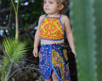 2-4 Years Tulip Skirted Banjara Set, bohemian baby skirt, baby bloomers, baby romper, hippie baby, boho baby shower, baby crop