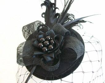 Black Rosalind Feather Plume & Crystal Vintage Elegant Percher Fascinator Mini Hat - Custom Made to Order