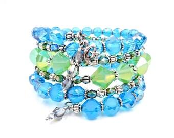 Blue beaded wrap bracelet, blue and green bracelet, memory wire bracelet, wrap bracelet, beaded bracelet, crystal bracelet