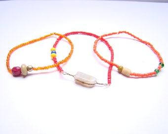 set of 3 bracelets - fire-
