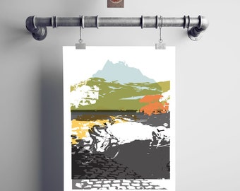 Sunday Ride.  Cycling Print.  Print for Cyclists
