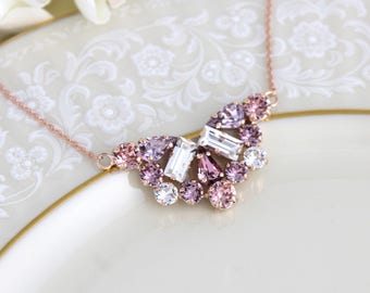 Rose gold necklace, Bridal jewelry, Blush Wedding necklace, Swarovski necklace, Purple Pink crystal, Wedding jewelry, Blush Pink necklace