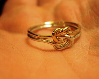 Argentium Sterling silver, 14kt gold filled, two tone, love knot ring, bi metal, choose your thickness