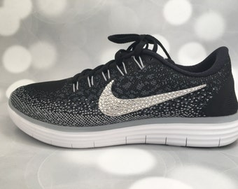 Nike Free RN Distance in Black / Grey / White / Embellished with Swarovski  Crystals /