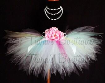 Baby, Girls, Tween Tutu, Pale Rainbow, White w/ Hot Pink, Yellow, Mint Green, Light Blue, Lavender, Moonbeam, Custom Sewn Tulle Skirt Tutu