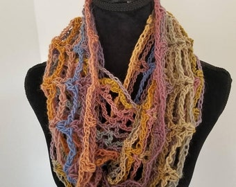 ON SALE Infinity Cowl Scarf - Circle Scarf, Multicolor Scarf, Scarf Neckwarmer Crochet, Unisex Scarf, Lightweight scarf, Year round